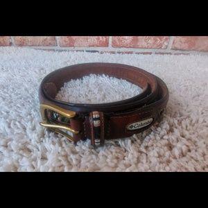 3/$20 Columbia Brown Leather Brass Unisex Belt